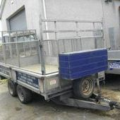 10 foot flatbed trailer c/w mesh sides & spare wheel... Newto...