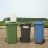 water barrels and wheely bins
